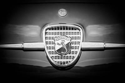 1958 Fiat Abarth-zagato Grille Emblem -1632bw Poster