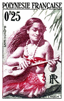1958 French Polynesia Guitar Girl 25fr Postage Stamp Poster