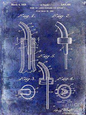 1958 Liquor Bottle Pour Patent Blue Poster