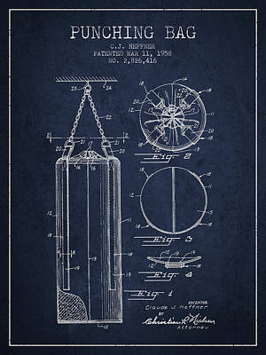 1958 Punching Bag Patent Spbx14_nb Poster by Aged Pixel