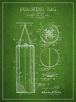 1958 Punching Bag Patent Spbx14_pg Poster by Aged Pixel