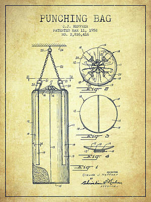 1958 Punching Bag Patent Spbx14_vn Poster by Aged Pixel