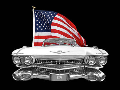 1959 Cadillac With Us Flag Poster by Gill Billington