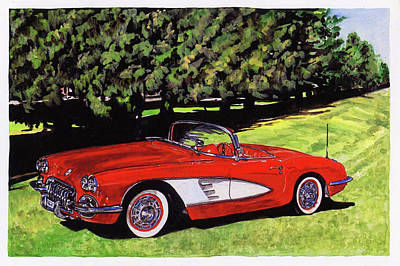 1959 Cevrolet Corvette Poster by Lacey Fox