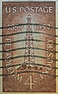 1959 First Oil Well Stamp Poster