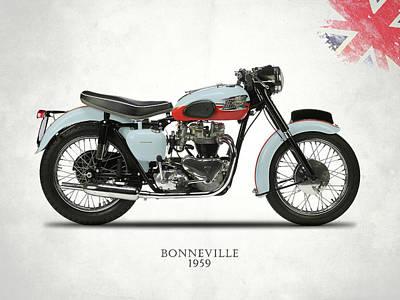 1959 T120 Bonneville Poster by Mark Rogan