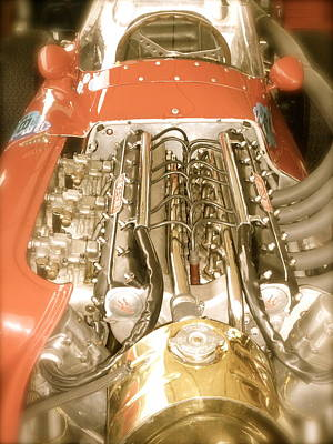 1959 Tecnia Meccanica Maserati 250f Engine Detail Poster by John Colley