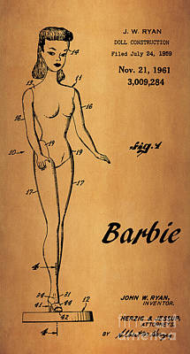 1961 Barbie Doll Patent Art 6 Poster by Nishanth Gopinathan