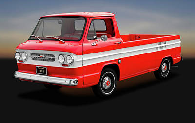 Poster featuring the photograph 1961 Chevrolet Corvair 95 Rampside Truck  -  1961corvairrampside172180 by Frank J Benz