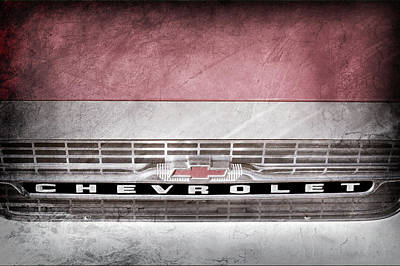Poster featuring the photograph 1961 Chevrolet Corvair Pickup Truck Grille Emblem -0130ac by Jill Reger