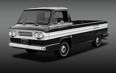 Poster featuring the photograph 1961 Chevrolet Corvair Rampside  -  61corvairrampsidebw172180 by Frank J Benz