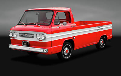 Poster featuring the photograph 1961 Chevrolet Corvair Rampside Truck  -  1961chevycorvairgry172180 by Frank J Benz