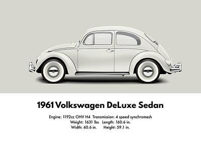 1961 Volkswagen Deluxe Sedan - Pearl White Poster