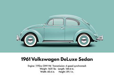 1961 Volkswagen Deluxe Sedan - Turquoise Poster