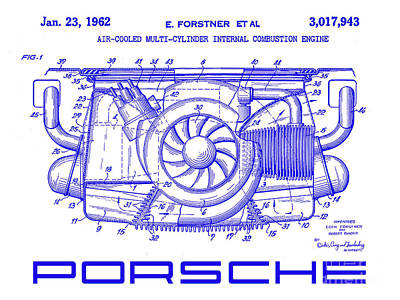 1962 Porsche Engine Patent Blueprint Poster