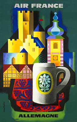 1963 Air France Germany  Allemagne Travel Poster Poster