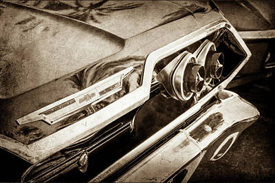 Poster featuring the photograph 1963 Chevrolet Taillight Emblem -0183s by Jill Reger