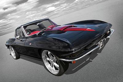 1963 Corvette Stingray Split Window In Black And Red Poster