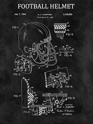 1964 Football Helmet Design Poster