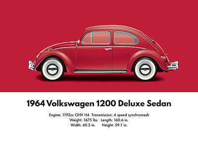 1964 Volkswagen 1200 Deluxe Sedan - Ruby Red Poster