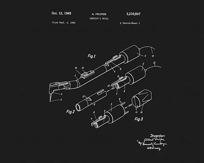 1965 Dentist Drill Patent Poster by Dan Sproul
