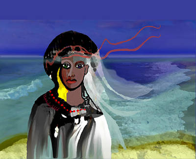 Poster featuring the digital art 1965 - Walk On The Oceanside by Irmgard Schoendorf Welch