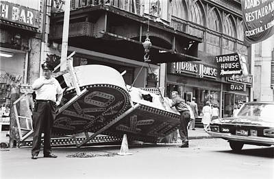 Poster featuring the photograph 1965 Removing Rko Theater Sign Boston by Historic Image
