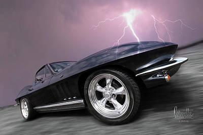 1966 Corvette Stingray With Lightning Poster