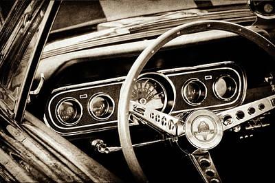1966 Ford Mustang Cobra Steering Wheel -0338s Poster by Jill Reger