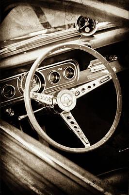 1966 Ford Mustang Cobra Steering Wheel Emblem -0091s Poster by Jill Reger