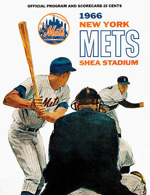 1966 New York Mets Scorecard Poster