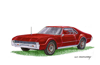 Poster featuring the painting 1966 Oldsmobile Toronado by Jack Pumphrey