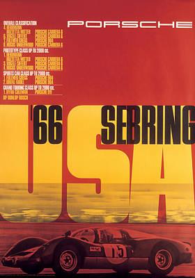 1966 Porsche 12 Hours Of Sebring Poster
