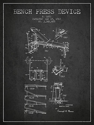 1967 Bench Press Device Patent Spbb06_cg Poster by Aged Pixel