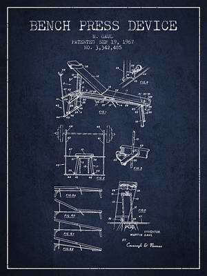 1967 Bench Press Device Patent Spbb06_nb Poster by Aged Pixel