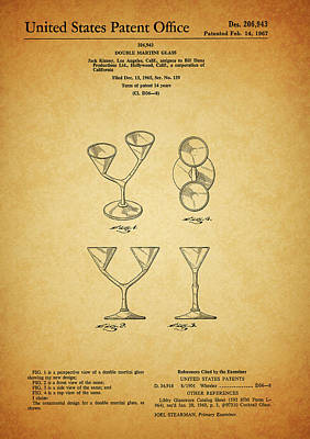 1967 Double Martini Glass Poster