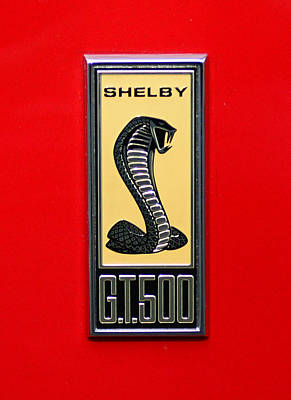 1967 Ford Shelby Gt 500 Cobra Fender Emblem On Red Poster by Paul Ward