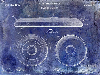 1967 Frisbee Patent Blue Poster