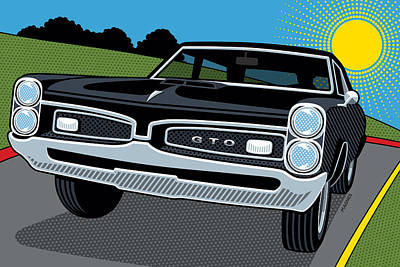Poster featuring the digital art 1967 Pontiac Gto Sunday Cruise by Ron Magnes