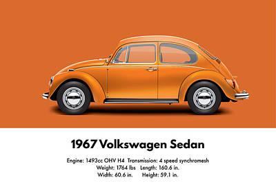 1967 Volkswagen Sedan - Custom Metallic Orange Poster