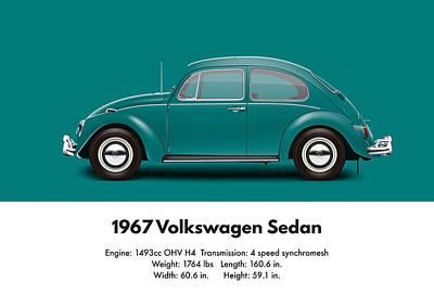 1967 Volkswagen Sedan - Java Green Poster