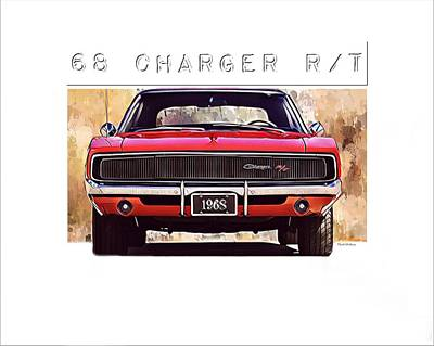 1968 Charger Rt Poster by Scott Wallace