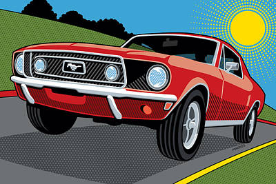 Poster featuring the digital art 1968 Ford Mustang Sunday Cruise by Ron Magnes
