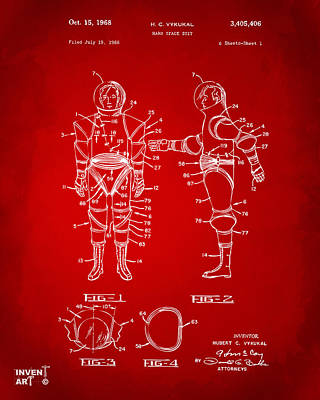 1968 Hard Space Suit Patent Artwork - Red Poster