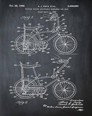 1968 Schwinn Stingray Patent In Chalk Poster