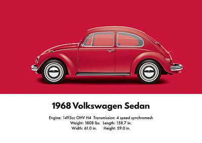 1968 Volkswagen Sedan - Royal Red Poster