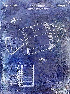 1969 Apollo Spacecraft Patent Blue Poster