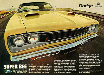 1969 Dodge Coronet Super Bee Poster by Digital Repro Depot