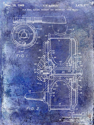 1969 Fly Reel Patent Blue Poster