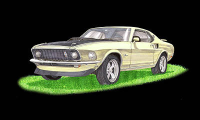 1969 Ford Mustang Fastback Poster by Jack Pumphrey